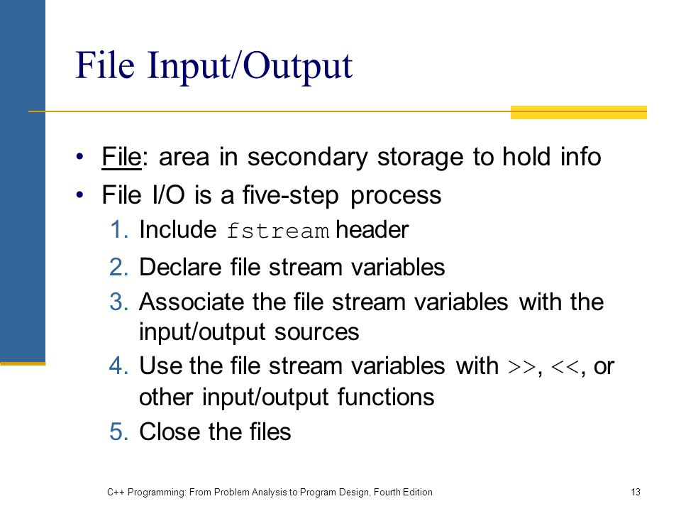 File Input/Output File: area in secondary storage to hold info
