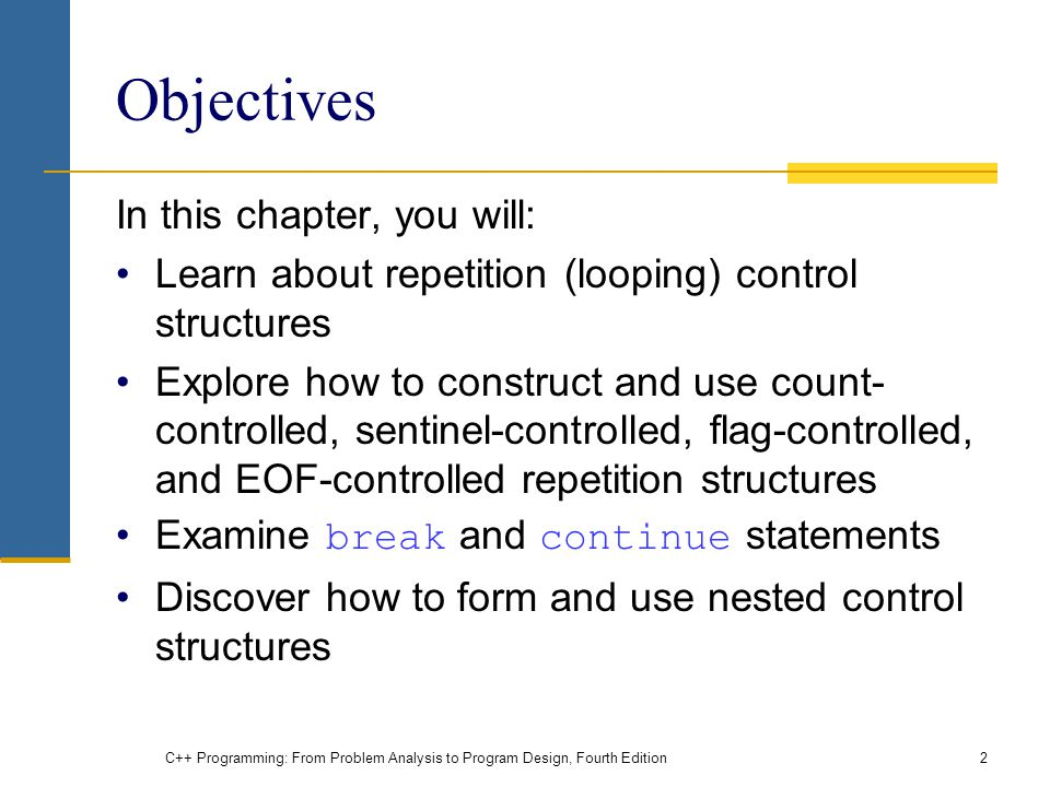 Objectives In this chapter, you will:
