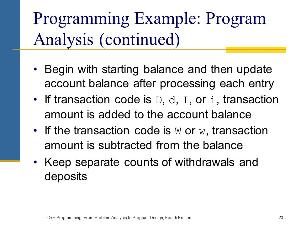 Programming Example: Program Analysis (continued)