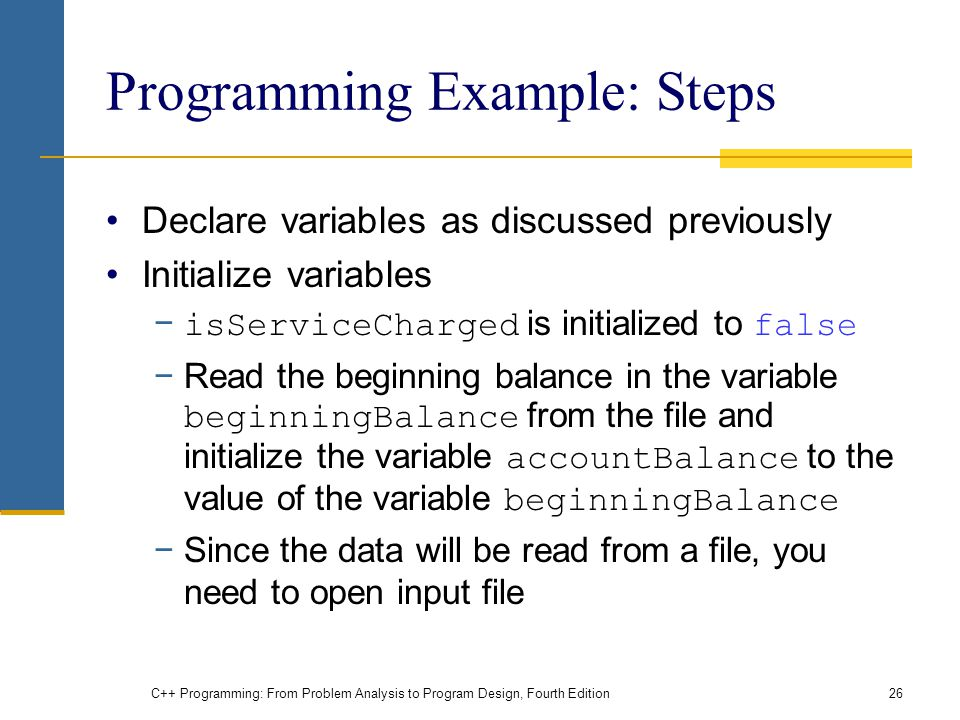 Programming Example: Steps
