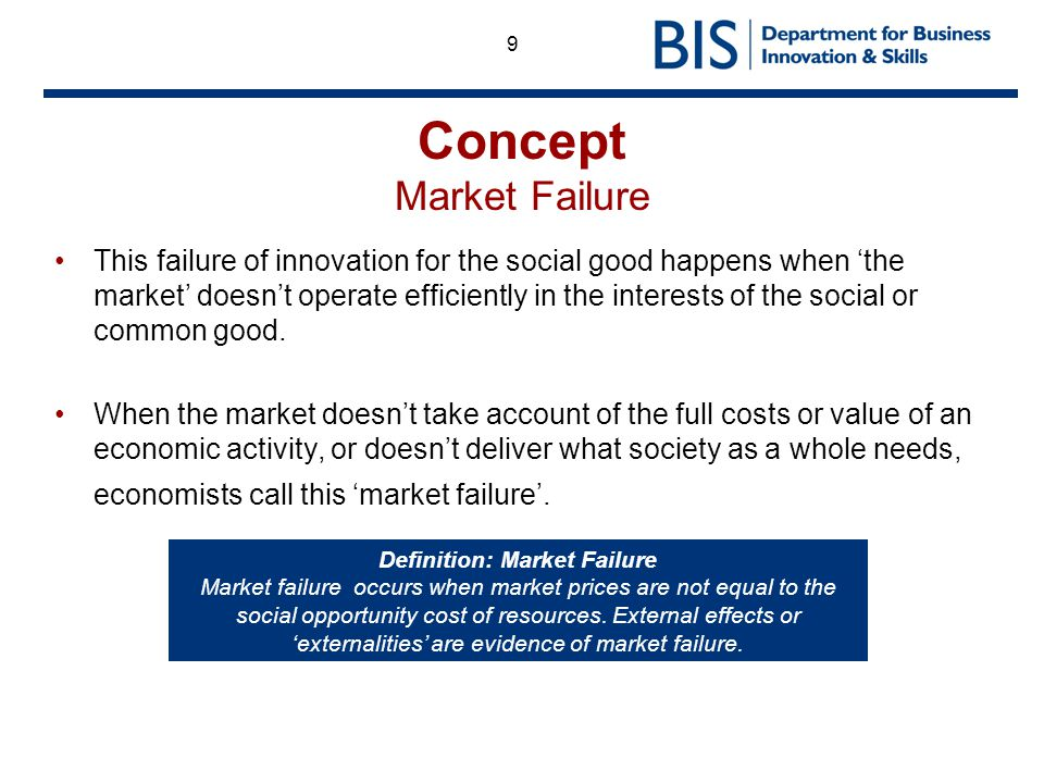 define market failure Market failure is a concept in economic theory where in the allocation of goods and resources by a free market is not efficient as the diagram shows, market failure can be as the result of four general factors including public goods, externalities, lack of property rights, and asymmetric information market failures are.