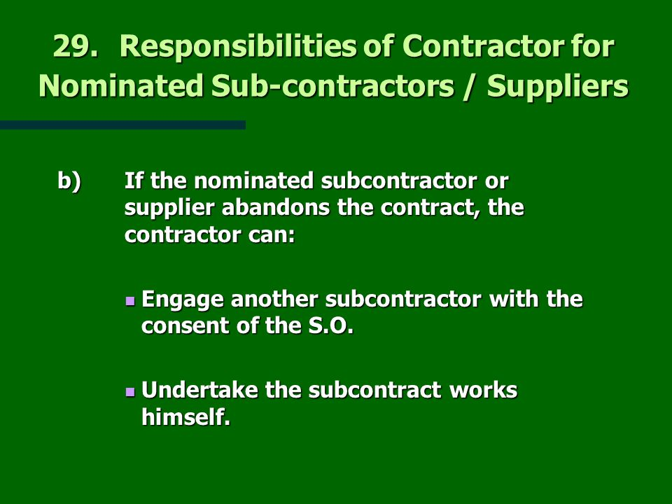 Construction law and contract ppt download for Finding subcontracting opportunities