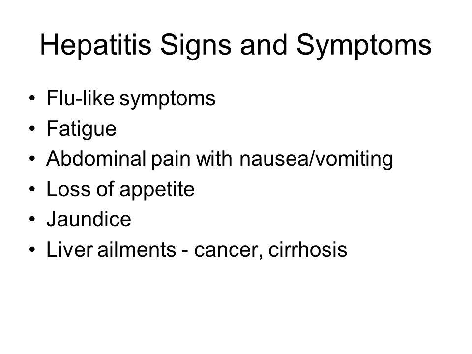 a look at hepatitis signs and symptoms Symptoms of hepatitis including 35 medical symptoms and signs of hepatitis, alternative diagnoses, misdiagnosis, and correct diagnosis for hepatitis signs or hepatitis symptoms.