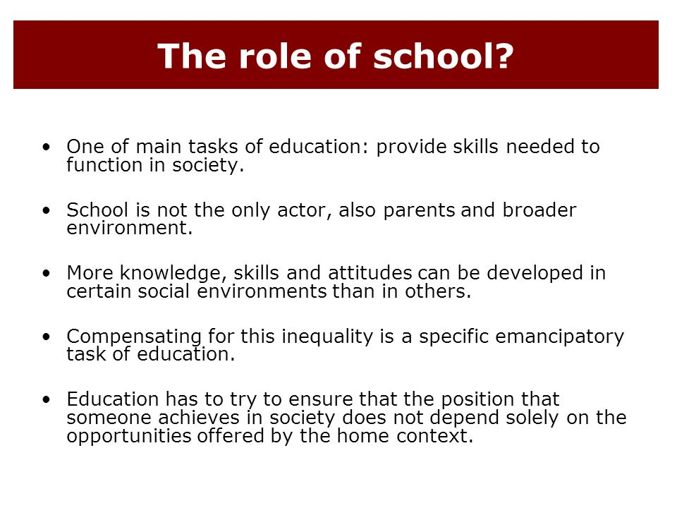 the role of an education in our society Essay on the role of education in society education, has a great social importance specially in the modern, complex industrialised societies philosophers of all periods, beginning with.