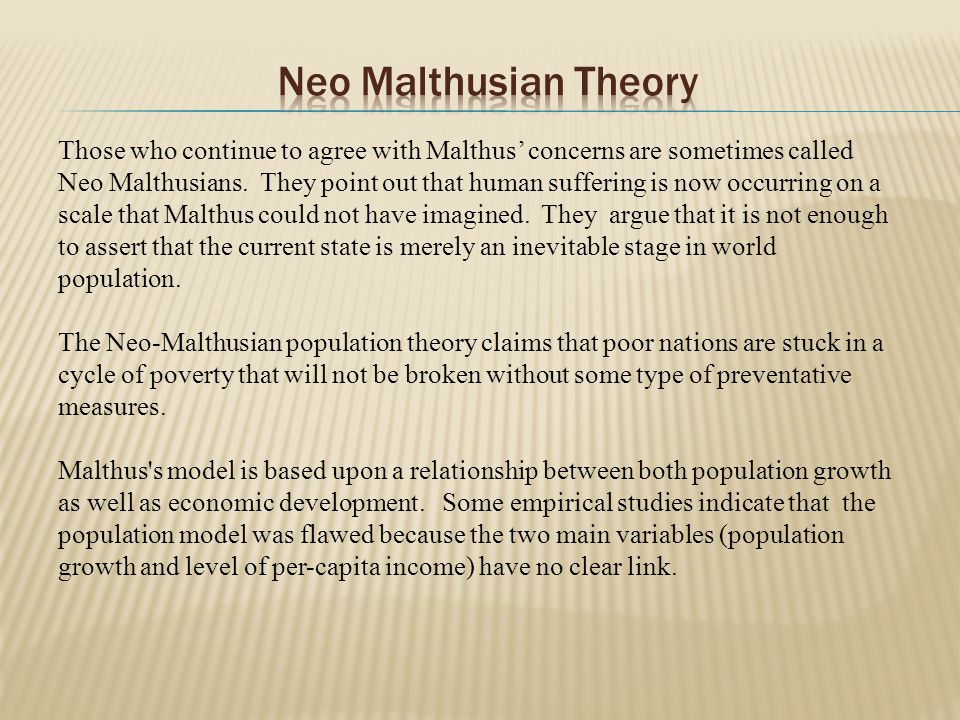 an analysis of the neo malthusian population theory