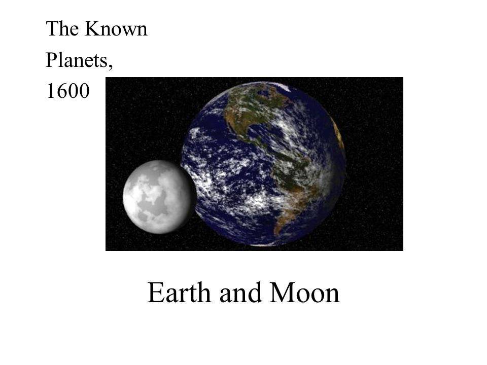 The Known Planets, 1600 Earth and Moon