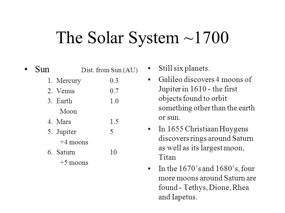 The Solar System ~1700 Sun Dist. from Sun (AU) Still six planets.