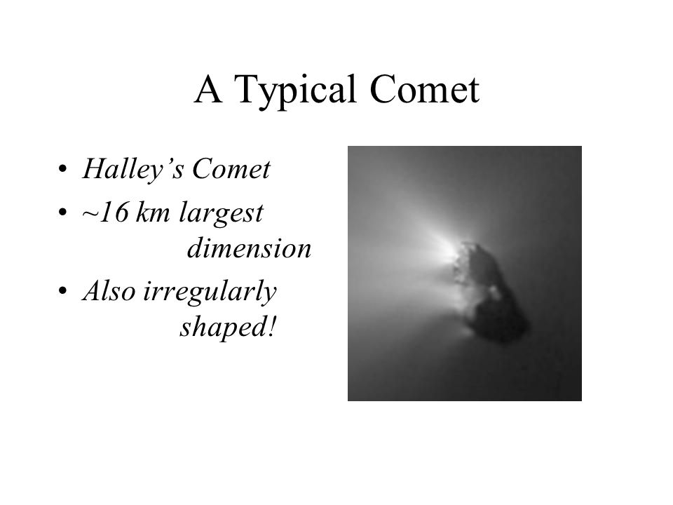 A Typical Comet Halley's Comet ~16 km largest dimension