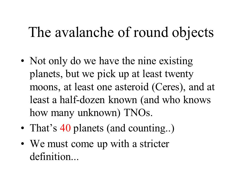 The avalanche of round objects