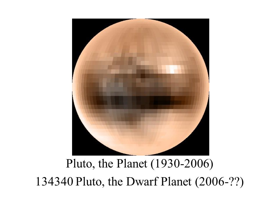 Pluto, the Planet (1930-2006) 134340 Pluto, the Dwarf Planet (2006- )