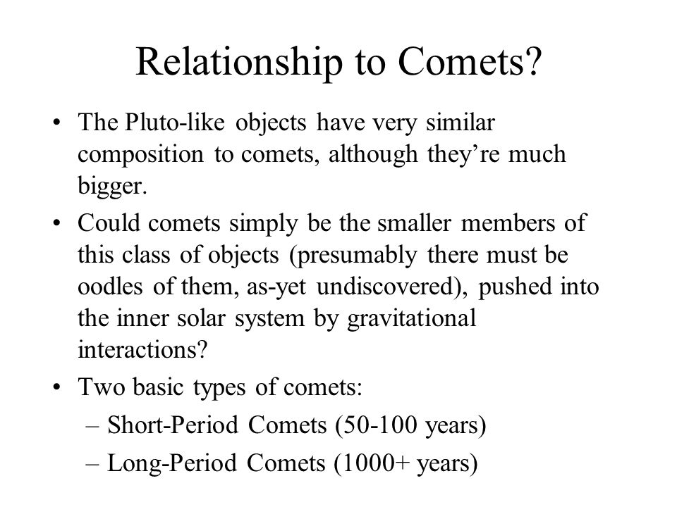 Relationship to Comets