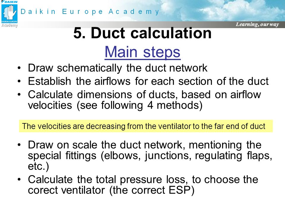 5. Duct calculation Main steps