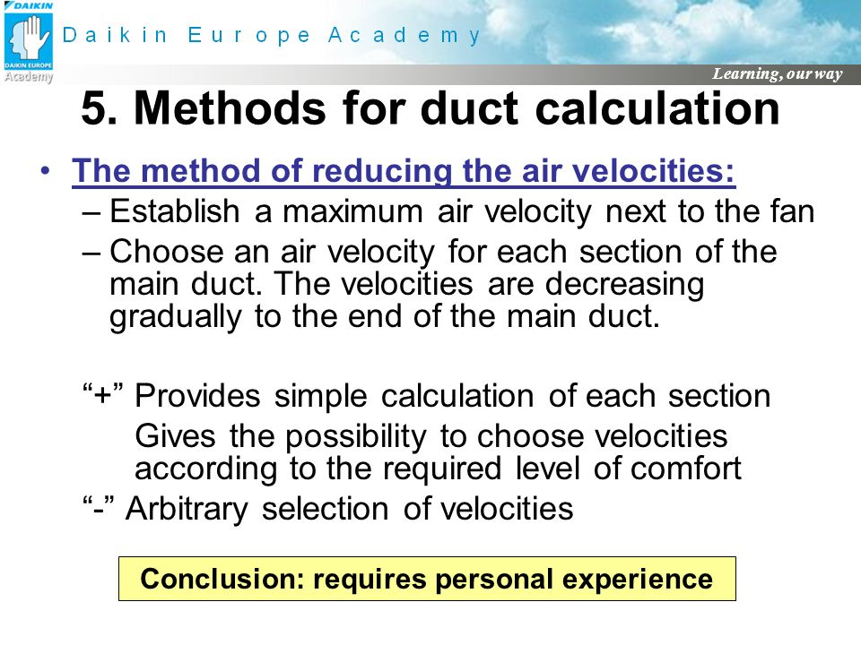 5. Methods for duct calculation