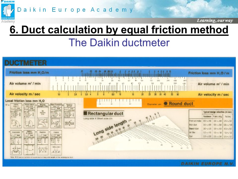 6. Duct calculation by equal friction method The Daikin ductmeter