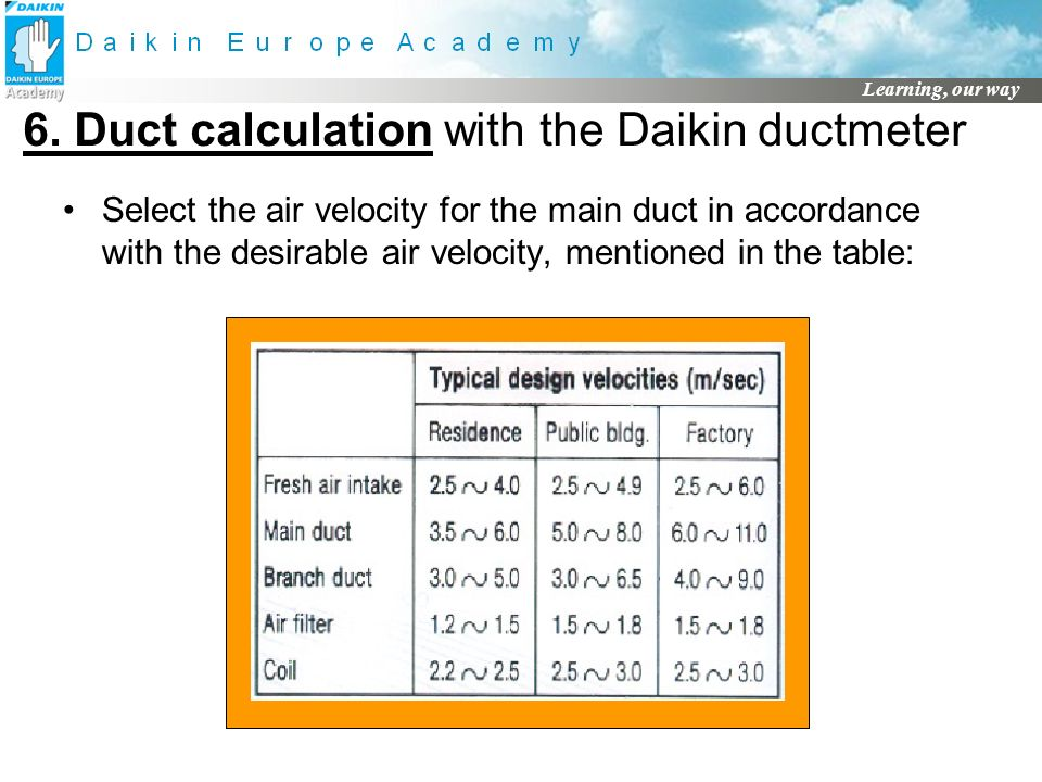 6. Duct calculation with the Daikin ductmeter