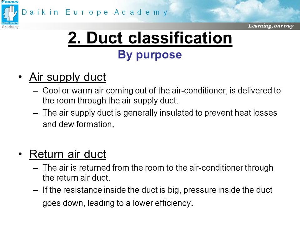 2. Duct classification By purpose