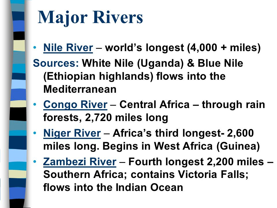 Geography Of Africa Africa Unit Ppt Video Online Download - Important rivers in africa