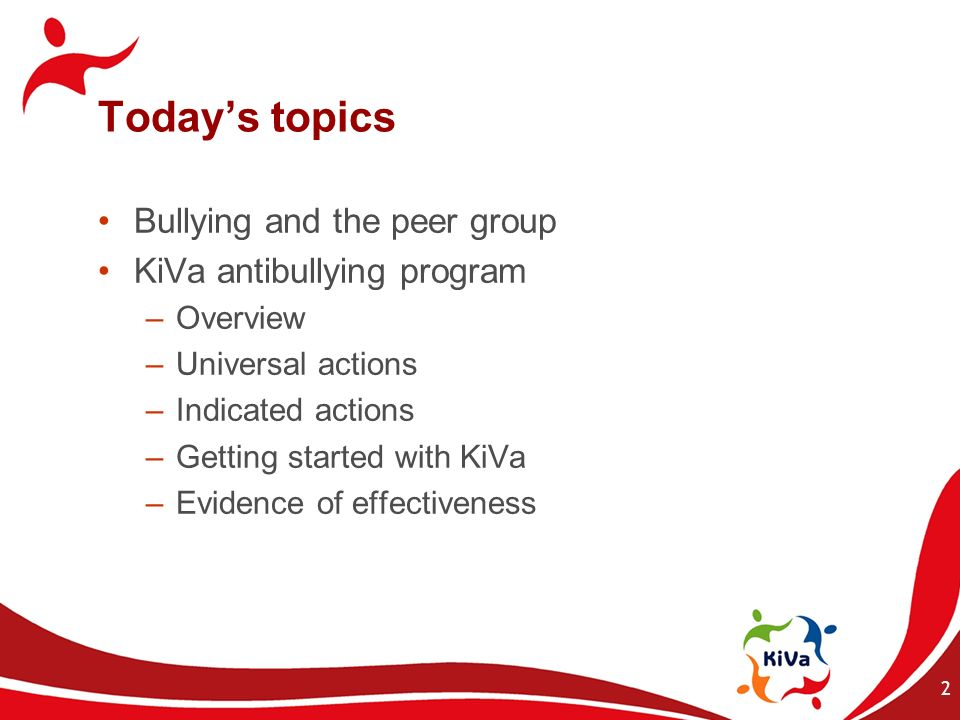 Today's topics Bullying and the peer group KiVa antibullying program