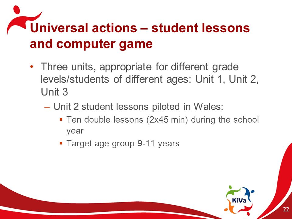 Universal actions – student lessons and computer game