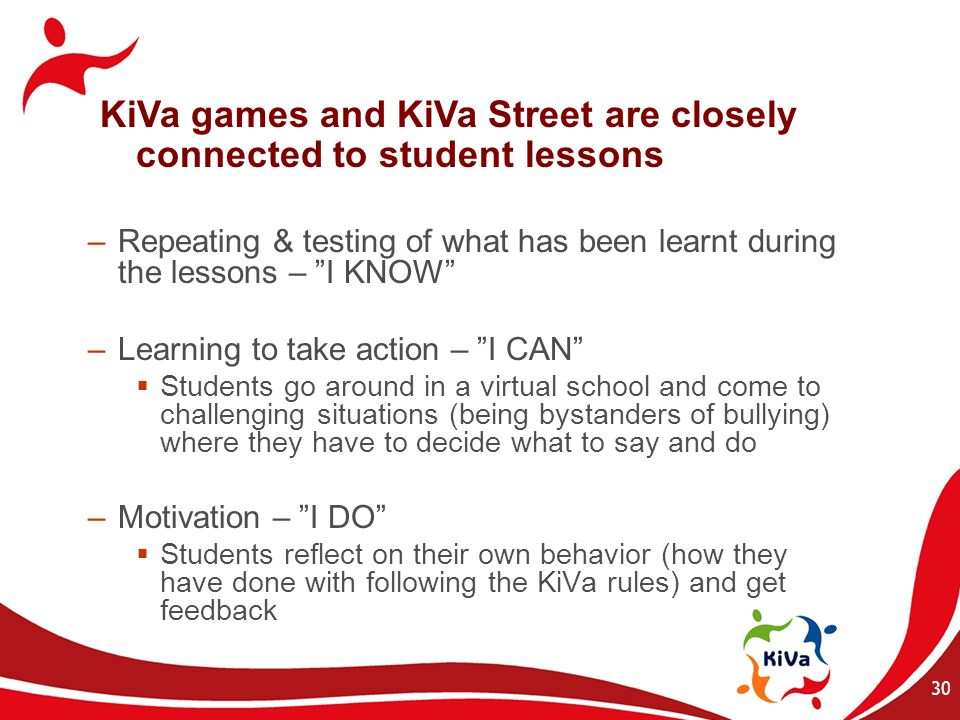 KiVa games and KiVa Street are closely connected to student lessons