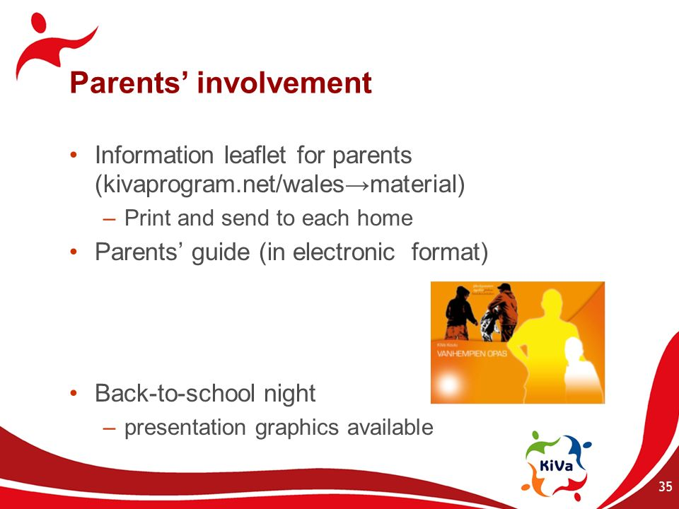 Parents' involvement Information leaflet for parents (kivaprogram.net/wales→material) Print and send to each home.