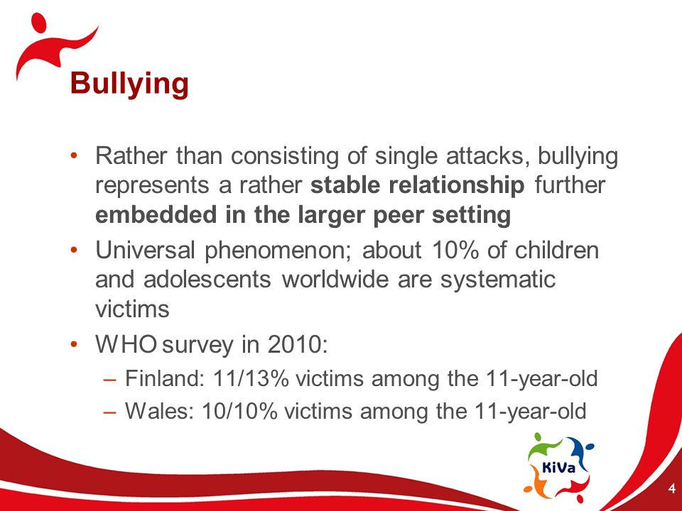 Bullying Rather than consisting of single attacks, bullying represents a rather stable relationship further embedded in the larger peer setting.