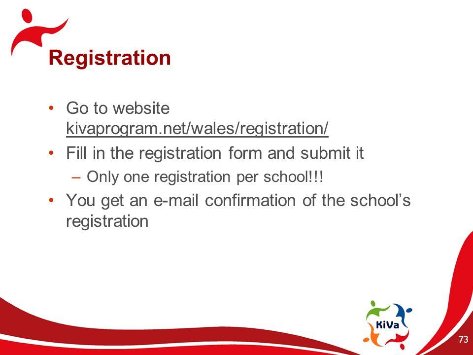 Registration Go to website kivaprogram.net/wales/registration/