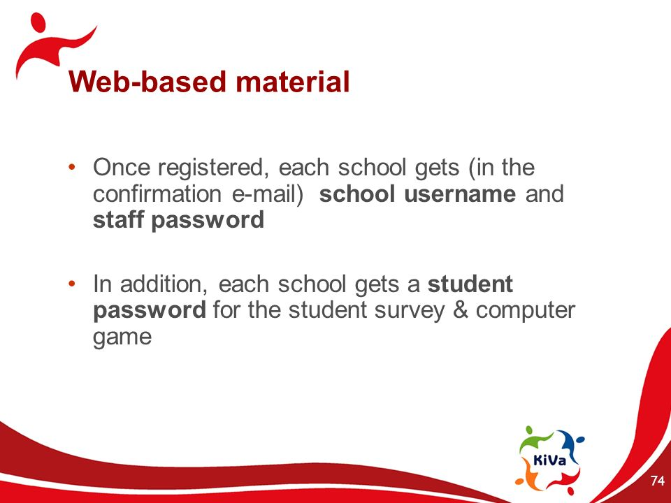 Web-based material Once registered, each school gets (in the confirmation  ) school username and staff password.
