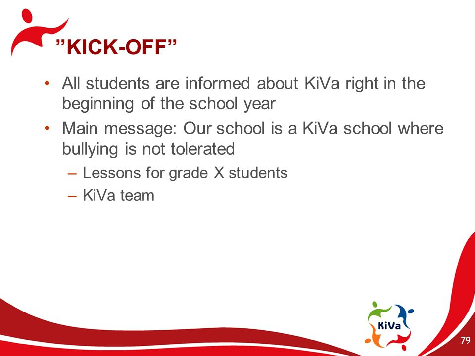 KICK-OFF All students are informed about KiVa right in the beginning of the school year.