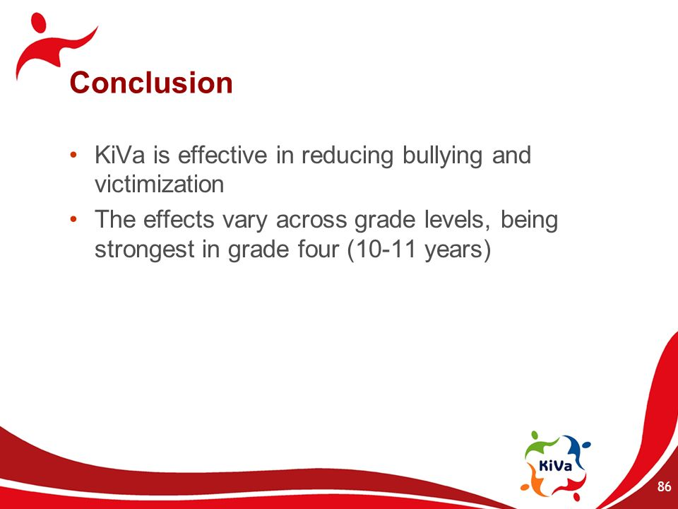 Conclusion KiVa is effective in reducing bullying and victimization