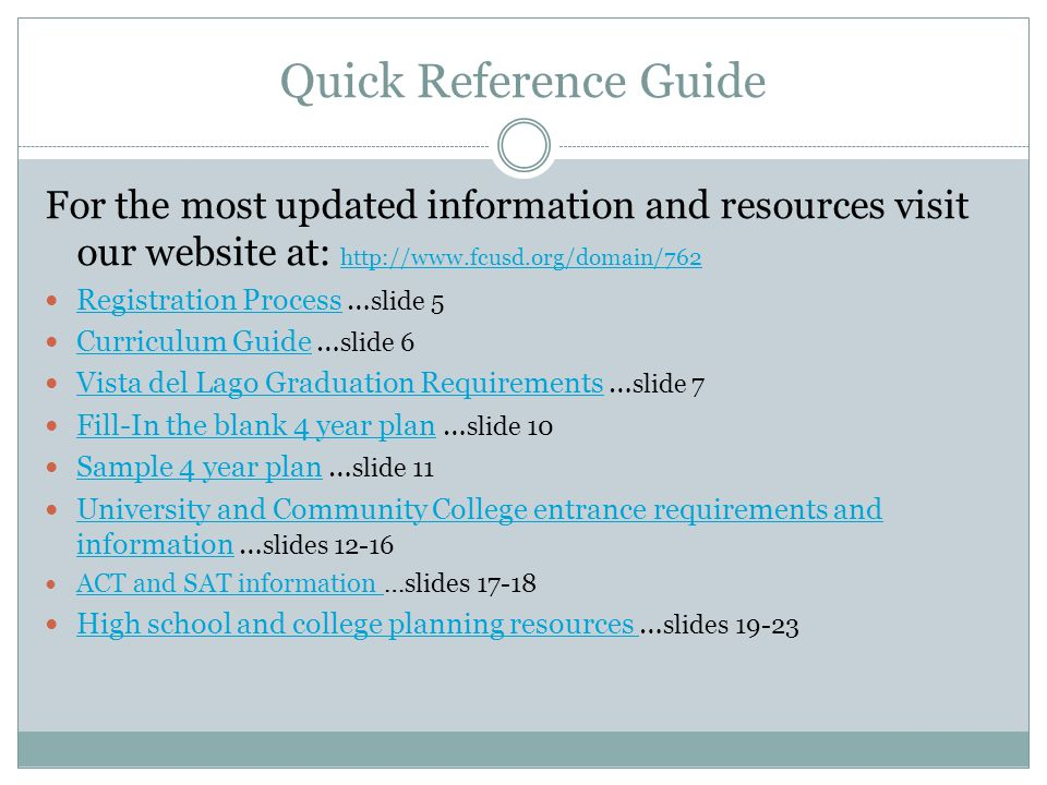 Quick Reference Guide For the most updated information and resources visit our website at: