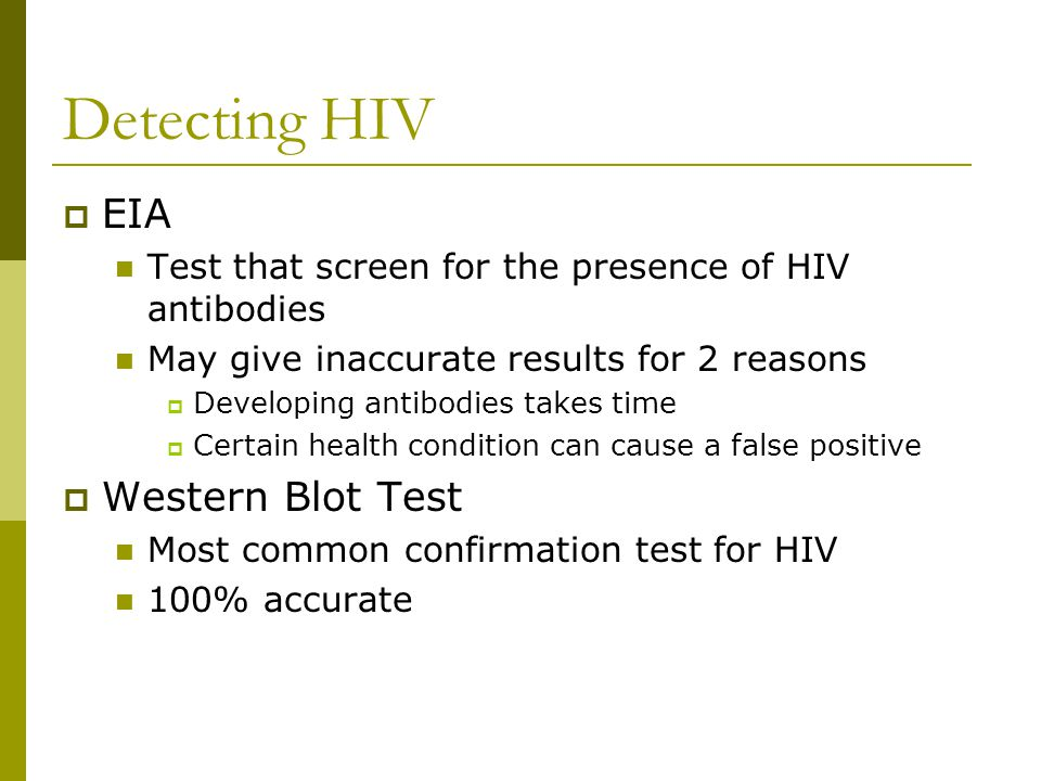 Detecting HIV EIA Western Blot Test