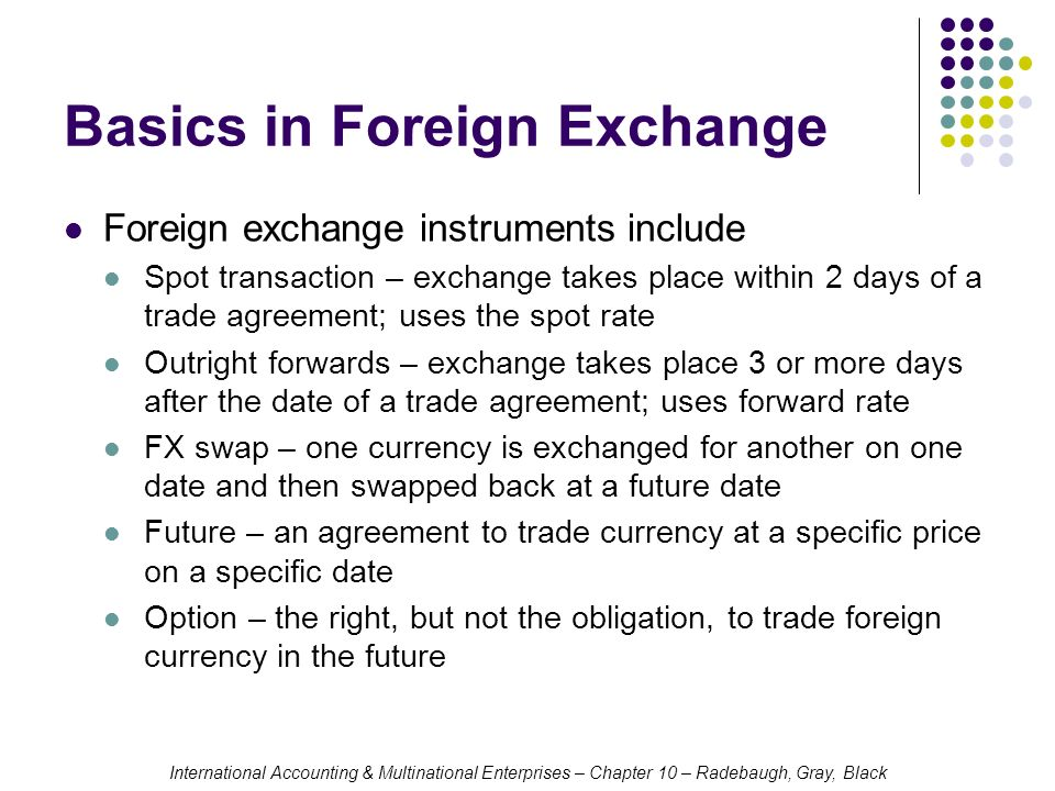 Foreign exchange instruments