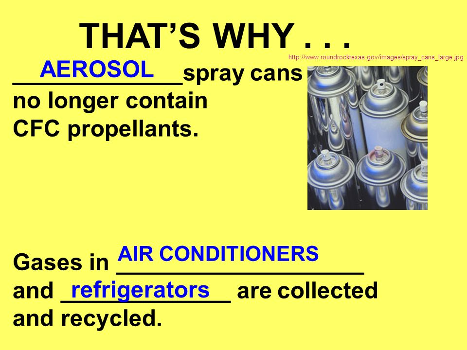 THAT'S WHY . . . AEROSOL _____________spray cans no longer contain