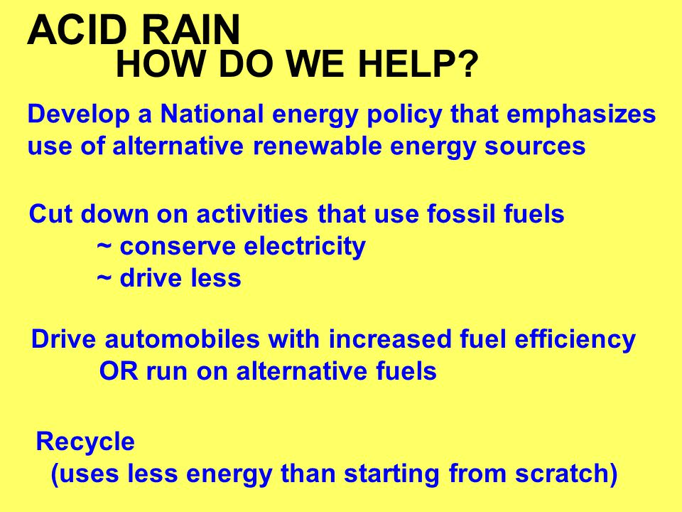 ACID RAIN HOW DO WE HELP Develop a National energy policy that emphasizes use of alternative renewable energy sources.