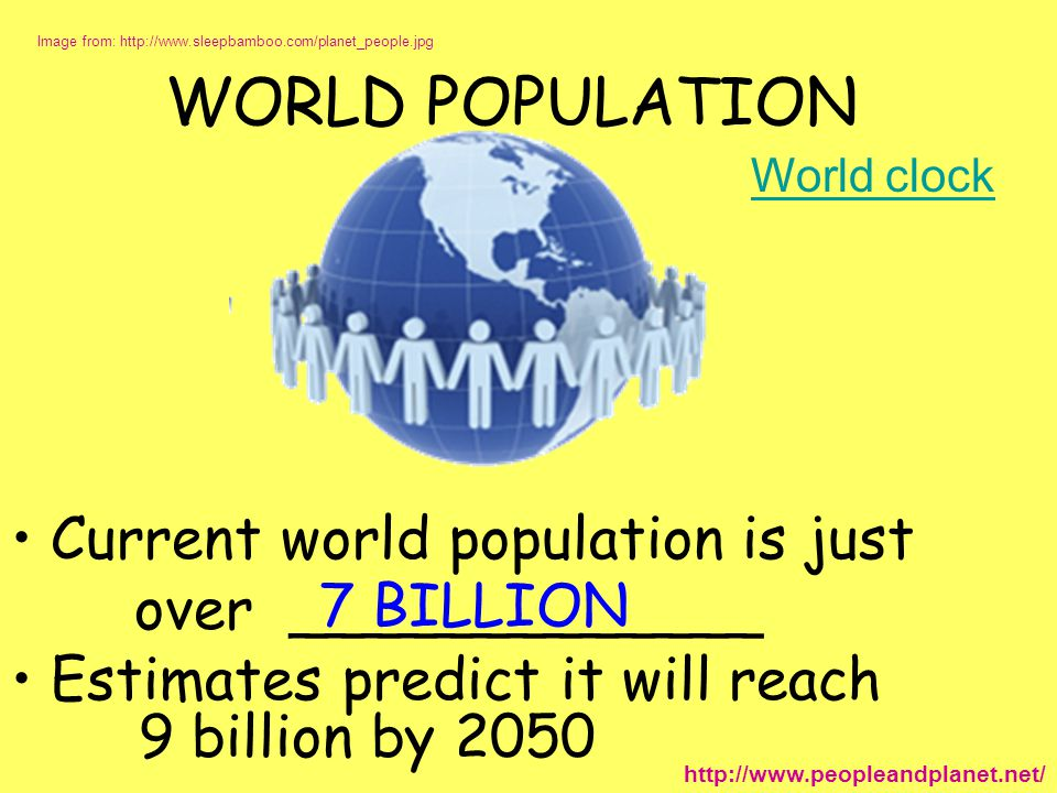 WORLD POPULATION Current world population is just over _____________