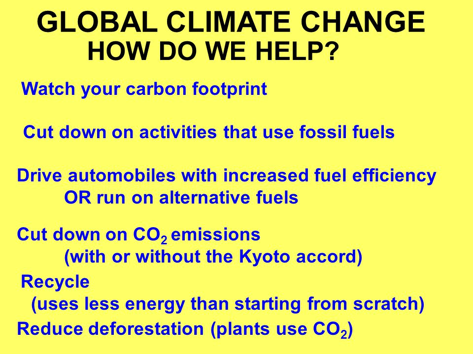 GLOBAL CLIMATE CHANGE HOW DO WE HELP Watch your carbon footprint