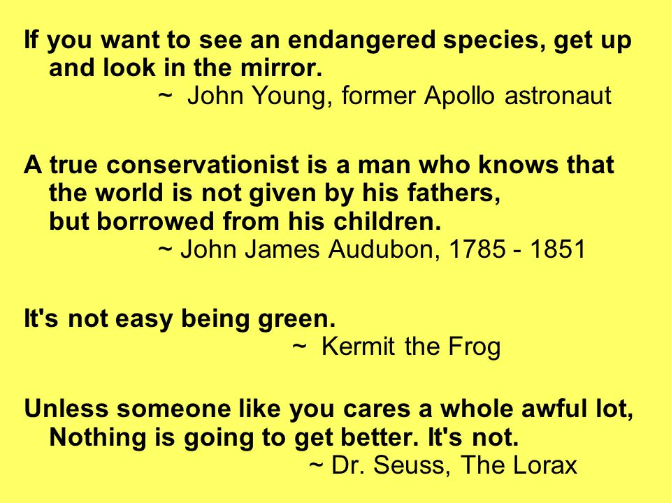 If you want to see an endangered species, get up and look in the mirror. ~ John Young, former Apollo astronaut