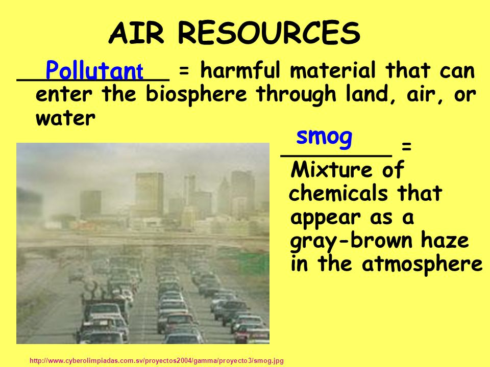 AIR RESOURCES Pollutant smog