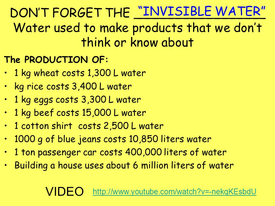 DON'T FORGET THE _________________ Water used to make products that we don't think or know about
