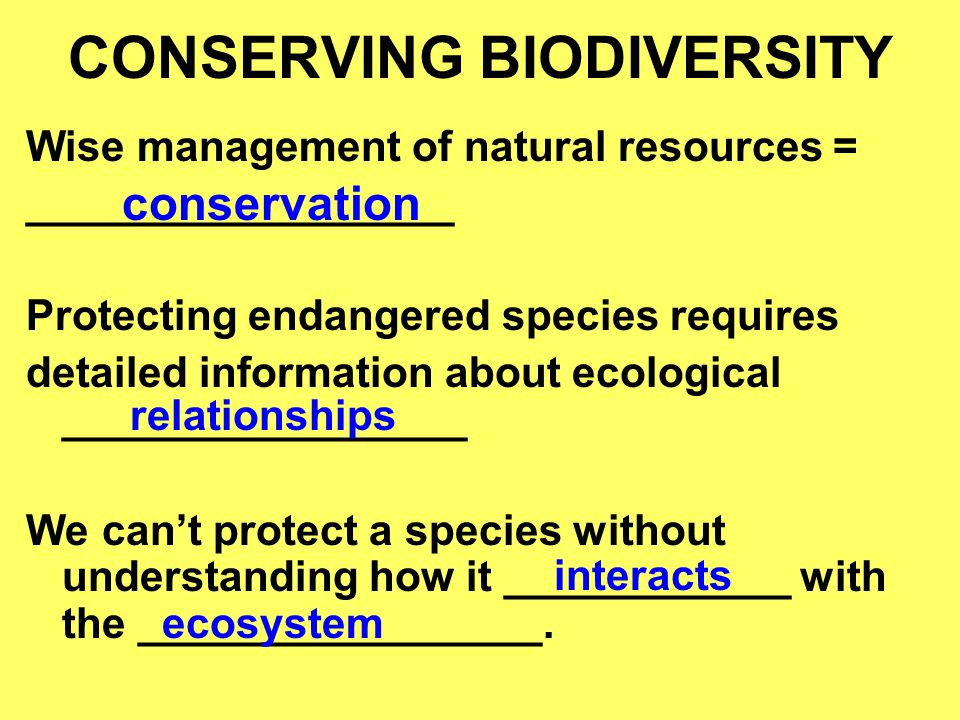 CONSERVING BIODIVERSITY