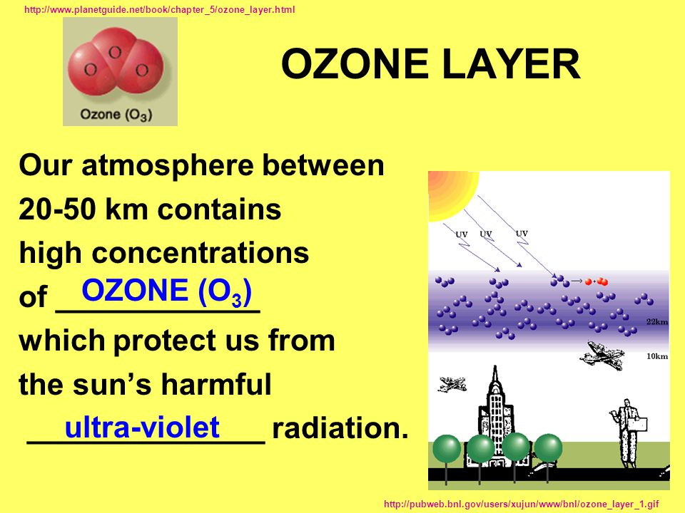 OZONE LAYER Our atmosphere between km contains