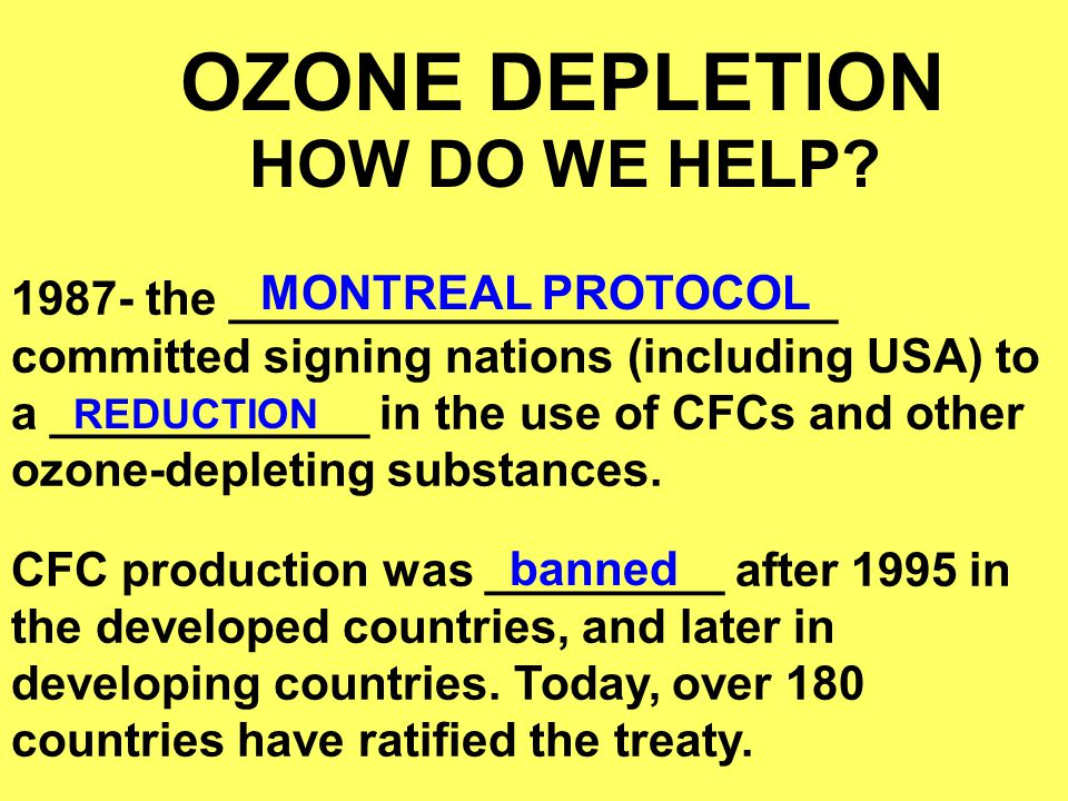 OZONE DEPLETION MONTREAL PROTOCOL