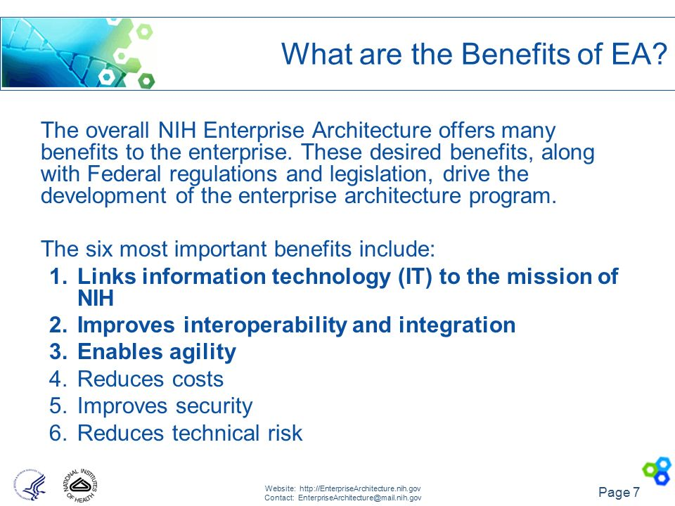 What Are The Benefits Of EA. 8 NIH Enterprise Architecture Framework