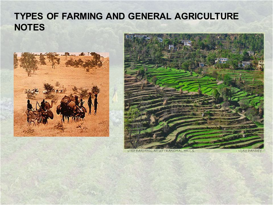 TYPES OF FARMING AND GENERAL AGRICULTURE NOTES