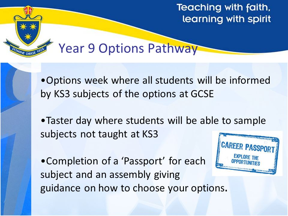 Year 9 Options Pathway Options week where all students will be informed by KS3 subjects of the options at GCSE.