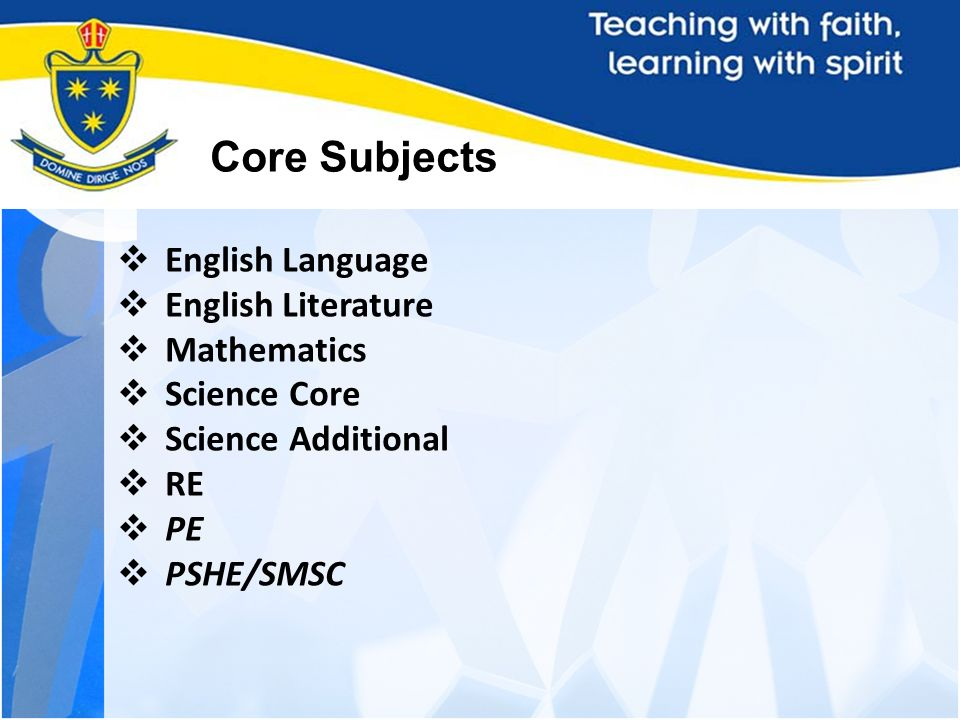 KS4 Curriculum Core Subjects English Language English Literature