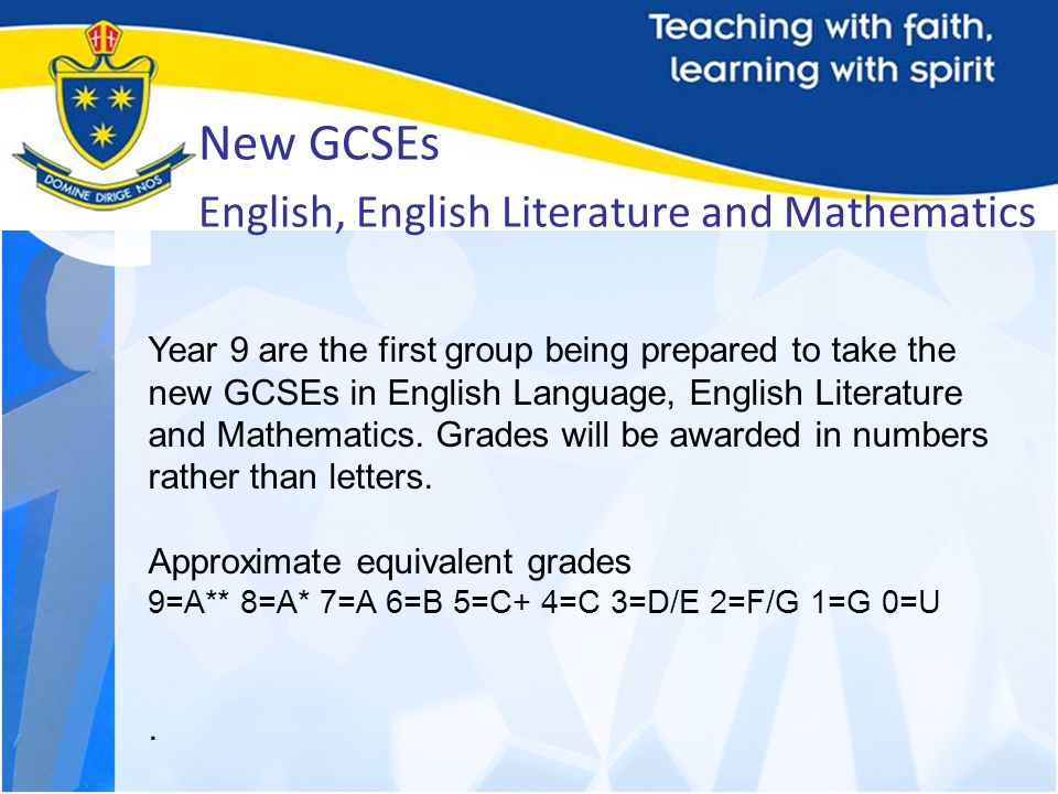 New GCSEs English, English Literature and Mathematics