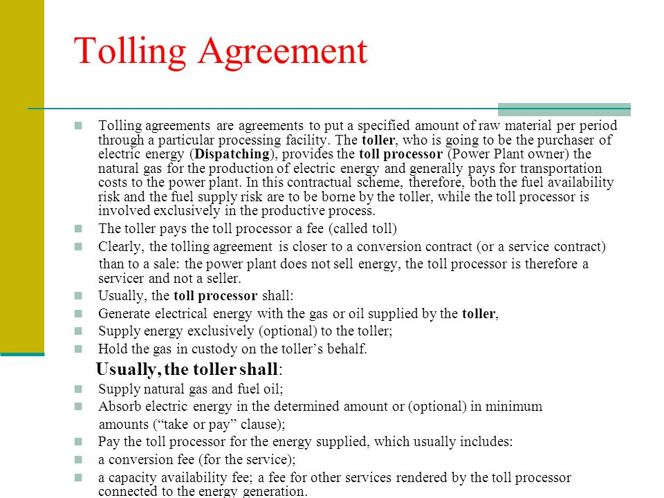 tolling agreement