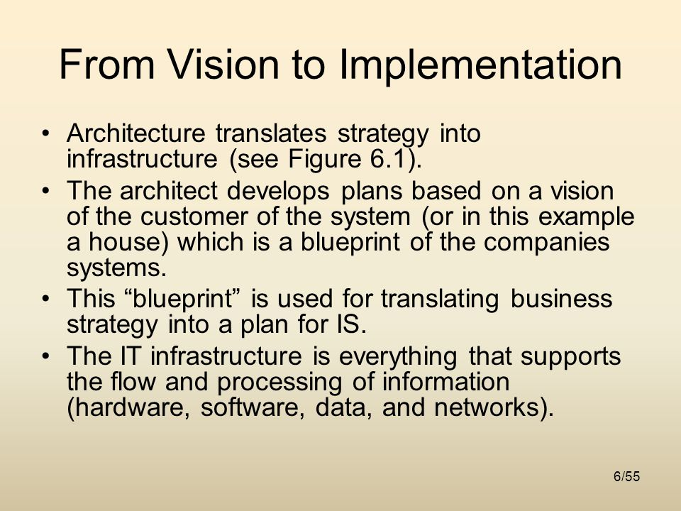 Chapter 6 architecture and infrastructure ppt download 6 from vision to implementation architecture translates strategy into infrastructure malvernweather Gallery